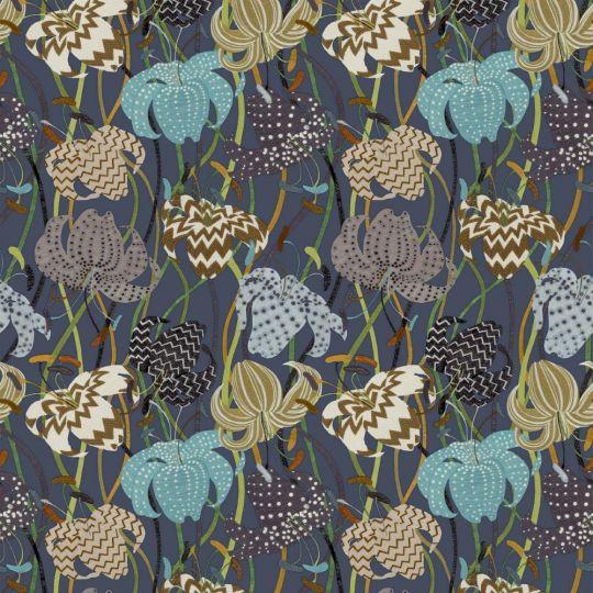 Обои Sirpi Missoni 3 10233 вышивка с цветами синяя
