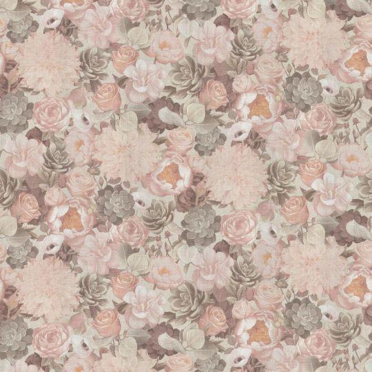 Шпалери Grandeco Dasha 159801 квіти персикові
