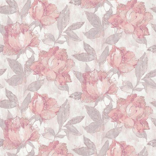 Шпалери Grandeco AVA 171403 квіти живопис рожево-світло-сірі метрові