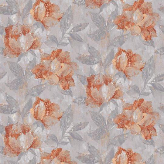 Обои Grandeco AVA 171404 цветы живопись оранжево-серые метровые