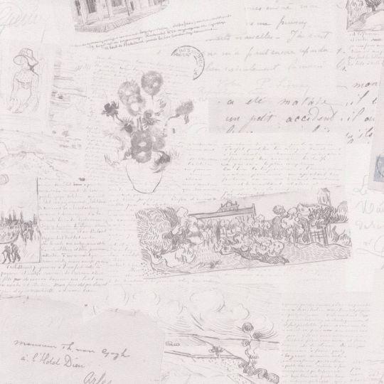 Шпалери BN International Van Gogh 17201 листи світло-сірі