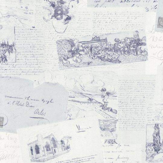 Шпалери BN International Van Gogh 17203 листи біло-сині
