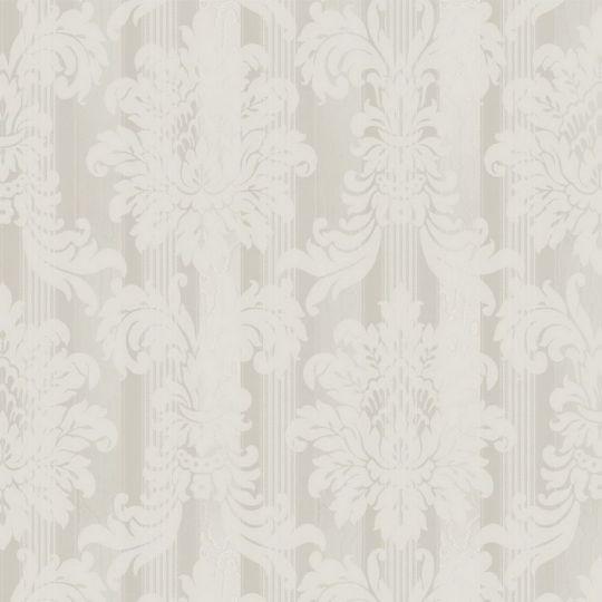 Велюрові шпалери Sirpi Italian Velour 25031 класичний візерунок на смузі біло-кремовий