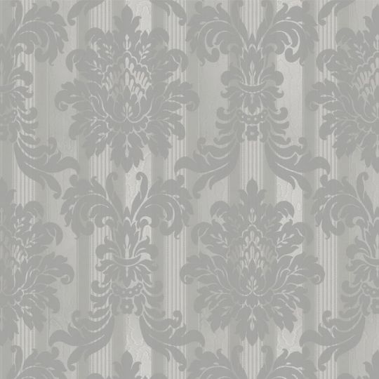 Велюрові шпалери Sirpi Italian Velour 25034 класичний візерунок на смузі срібло
