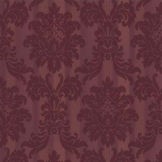 Велюрові шпалери Sirpi Italian Velour 25037 класичний візерунок на смузі бордовий
