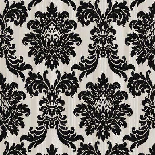 Велюрові шпалери Sirpi Italian Velour 25039 класичний візерунок на смузі кремово-чорний