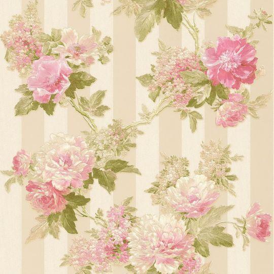 Шпалери AS Creation Romantico 30446-4 рожеві півонії на бежевому з блискітками