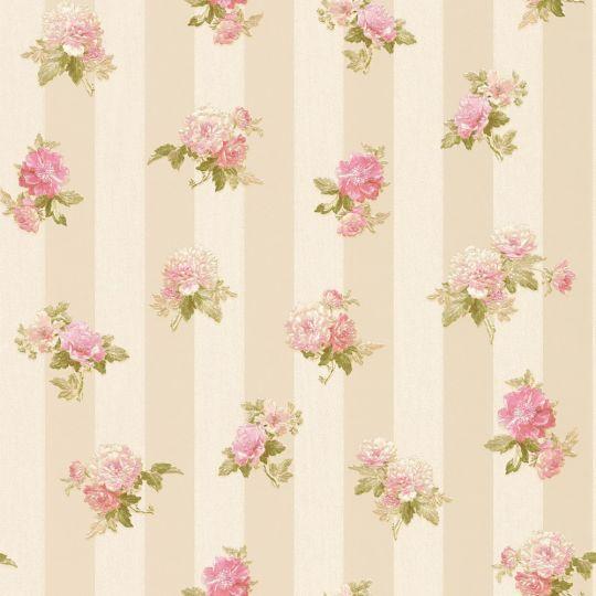 Шпалери AS Creation Romantico 30447-4 рожеві півонії в бежеву смужку з блискітками