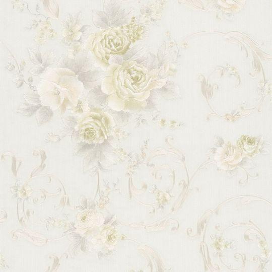 Шпалери AS Creation Romantico 30647-1 жовті квіти і вензелі з блискітками