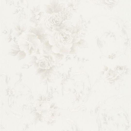 Шпалери AS Creation Romantico 30647-2 квіти і вензелі з блискітками білі