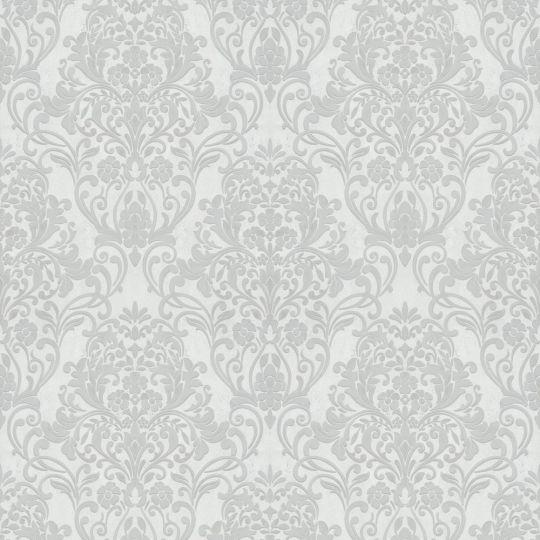 Шпалери Marburg City Glam 32302 з сірим класичним візерунком на білому