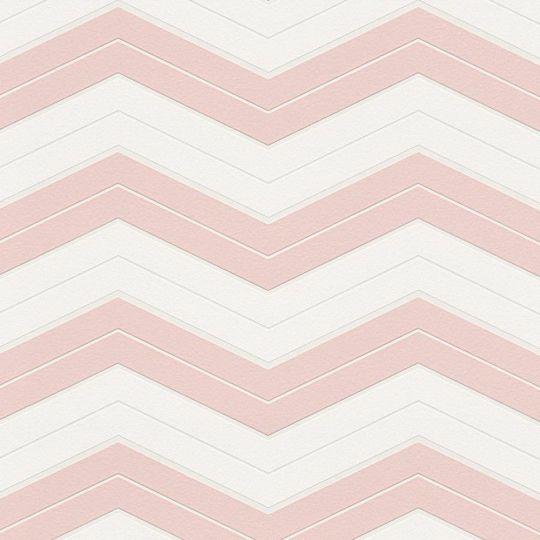 Шпалери AS Creation Designdschunge 34242-2 зігзаг біло-рожевий 0,53 х 10,05 м