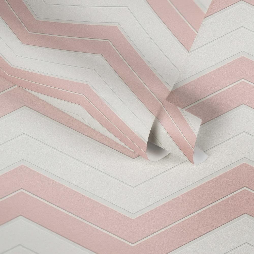 Обои AS Creation Designdschunge 34242-2 зигзаг бело-розовый 0,53 х 10,05 м
