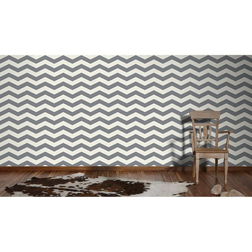 Обои AS Creation Designdschunge 34242-3 зигзаг бело-графитовый 0,53 х 10,05 м