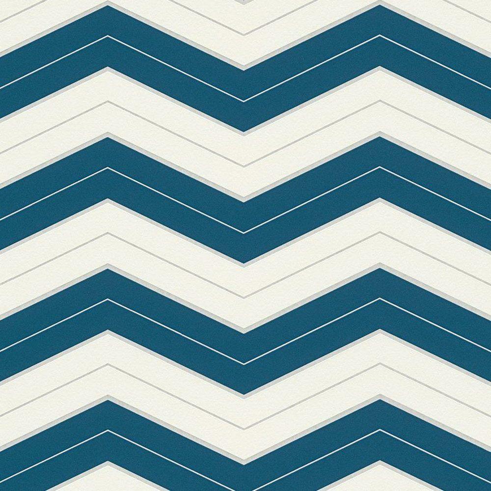 Обои AS Creation Designdschunge 34242-4 зигзаг бело-синий 0,53 х 10,05 м