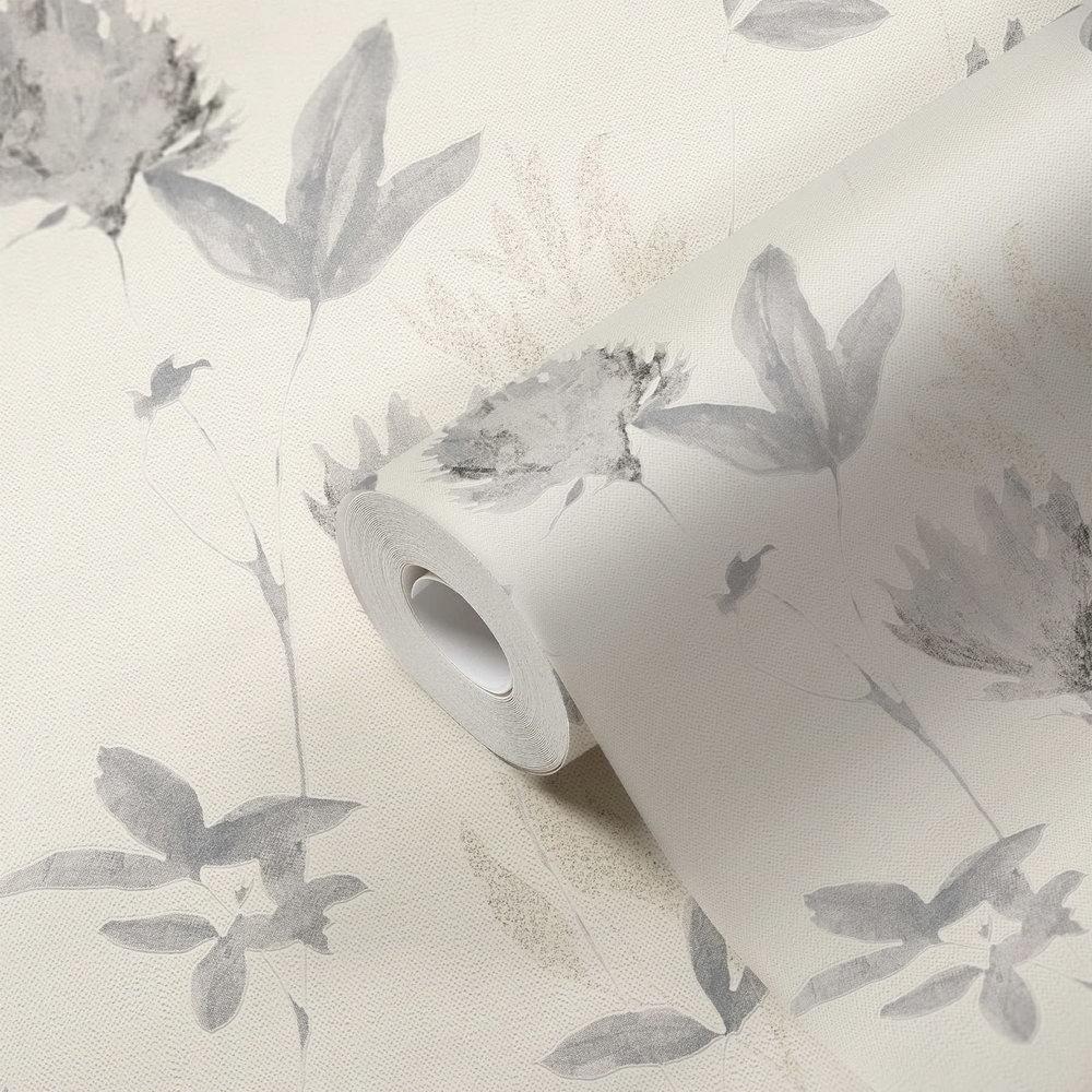 Обои AS Creation Designdschunge 34498-1 серые цветы 0,53 х 10,05 м