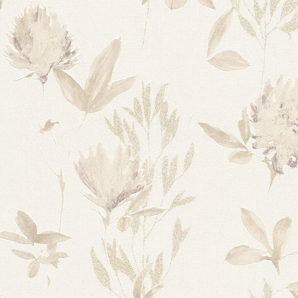 Обои AS Creation Designdschunge 34498-2 бежевые цветы 0,53 х 10,05 м