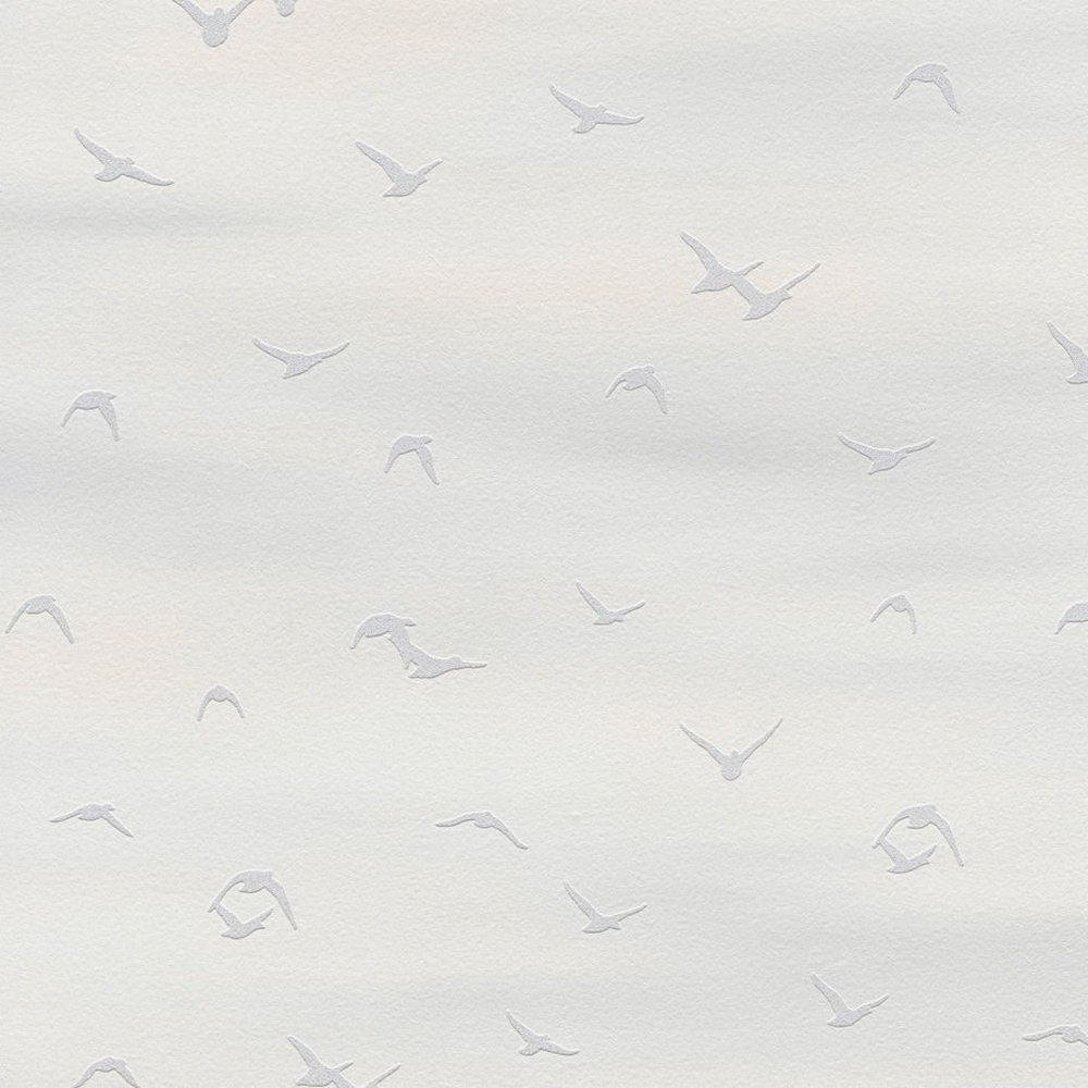 Шпалери AS Creation Cote d'Azur 35410-1 чайки фон біло-сірий 0,53 х 10,05 м