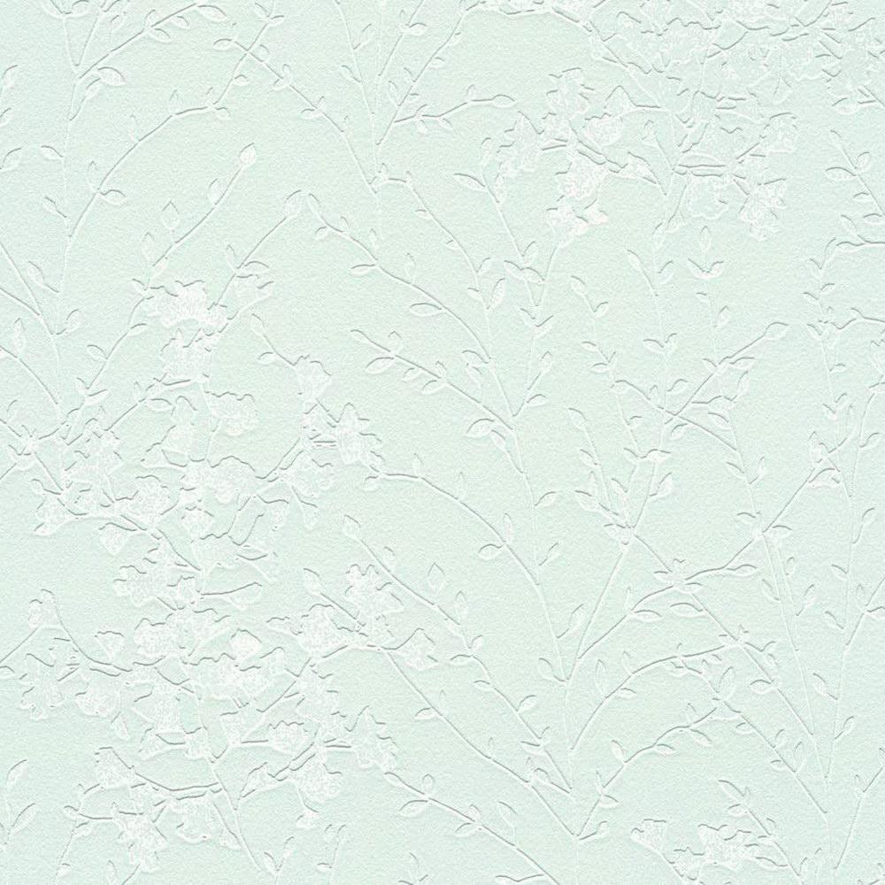 Шпалери AS Creation Designdschunge 36082-1 кущ на м'ятному фоні 0,53 х 10,05 м