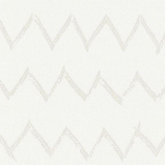 Обои AS Creation Designdschunge 36574-1 бежевый зигзаг на белом 0,53 х 10,05 м