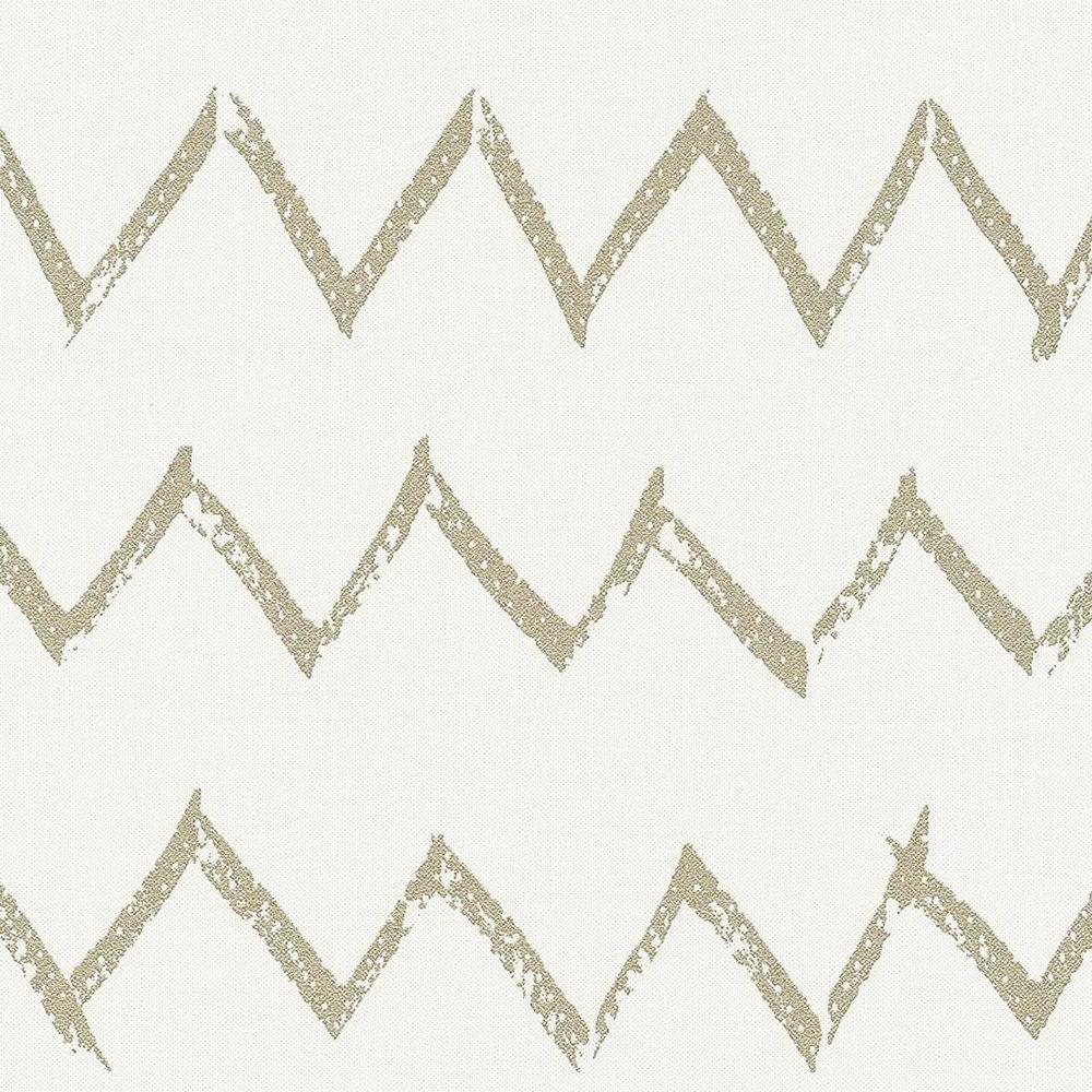 Шпалери AS Creation Designdschunge 36574-4 золотий зігзаг на білому 0,53 х 10,05 м