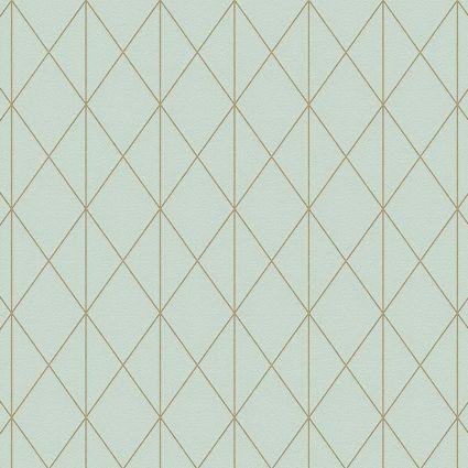 Обои AS Creation Designdschunge 36575-2 геометрия золото на зеленом 0,53 х 10,05 м