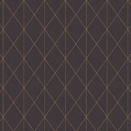 Обои AS Creation Designdschunge 36575-4 золотая геометрия на черном 0,53 х 10,05 м