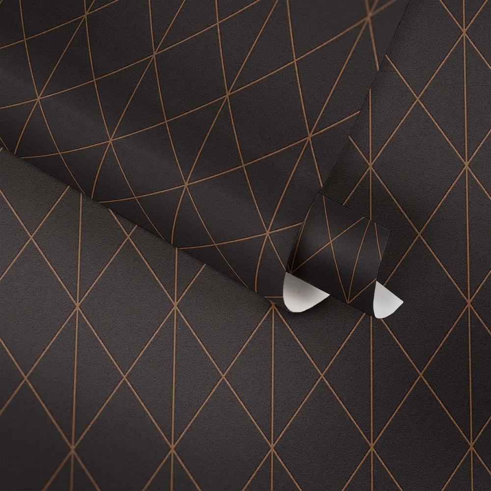 Шпалери AS Creation Designdschunge 36575-4 золота геометрія на чорному 0,53 х 10,05 м