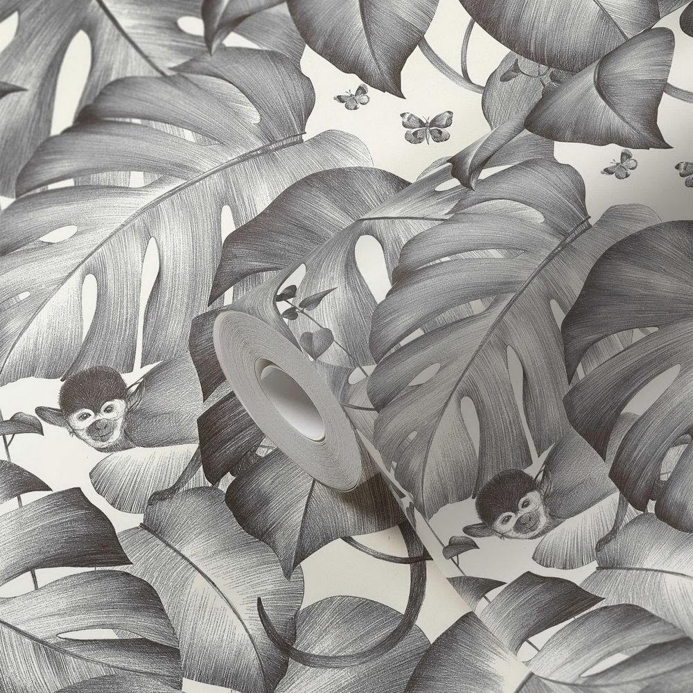 Шпалери AS Creation Colibri 36625-2 мавпочки в джунглях чорно-білі 0,53 х 10,05 м