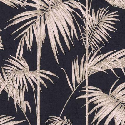 Обои AS Creation Metropolitan  36919-1 бежевые пальмы на черном 0,53 х 10,05 м