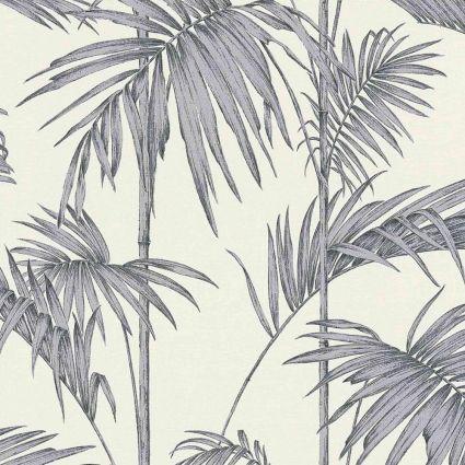Шпалери AS Creation Metropolitan  36919-2 сірі пальми на білому 0,53 х 10,05 м