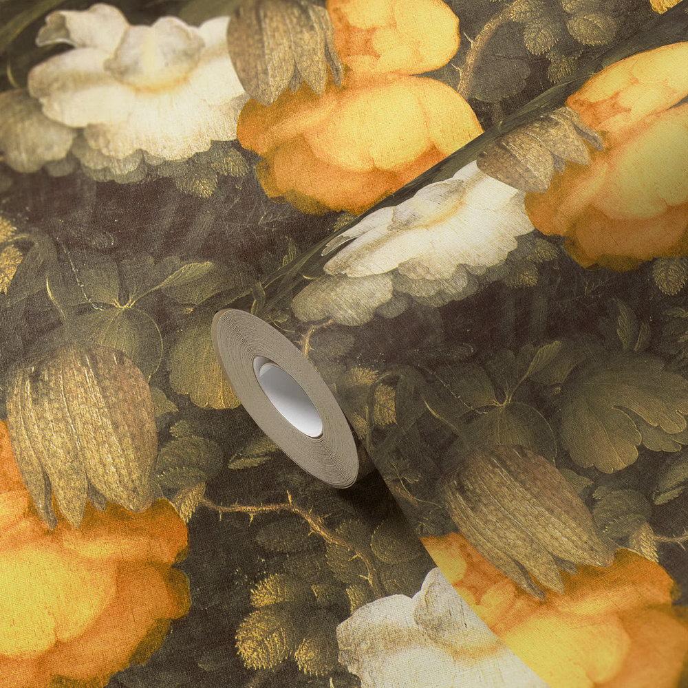 Шпалери AS Creation Metropolitan  36921-1 жовто-білі квіти холст  0,53 х 10,05 м