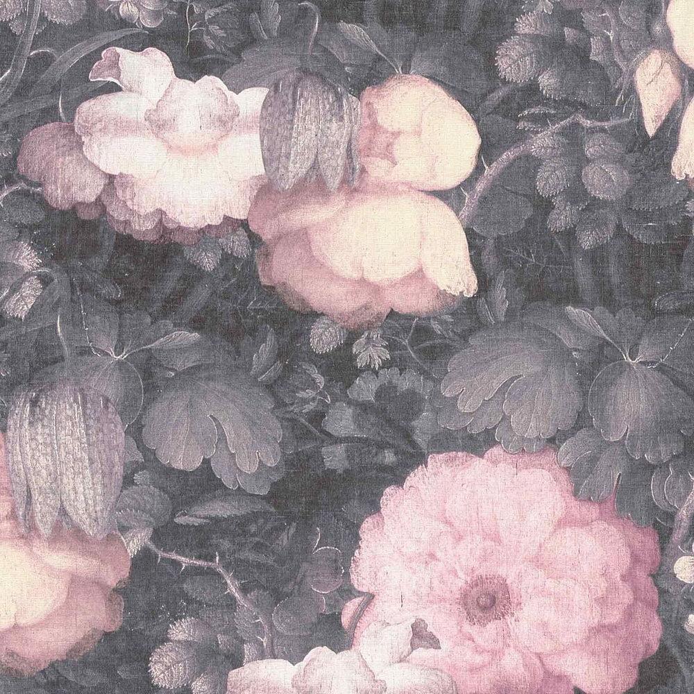 Обои AS Creation Metropolitan  36921-2 розовые цветы холст 0,53 х 10,05 м