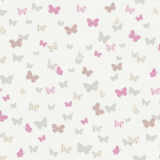 Шпалери AS Creation Attractive 36933-2 метелики сіро-рожеві