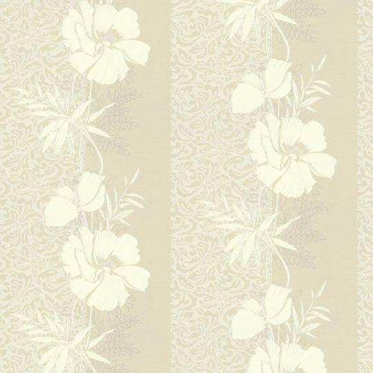 Шпалери AS Creation Valencia 3707-16 бежеві квіти в смужку 1,06 х 10,05 м