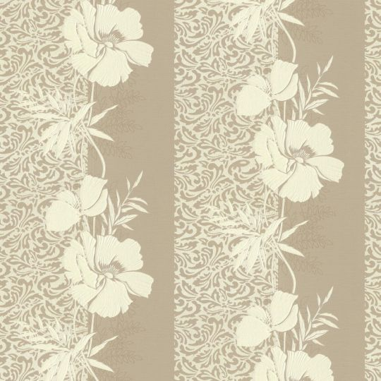 Шпалери AS Creation Valencia 3707-23 темно-бежеві квіти в смужку 1,06 х 10,05 м