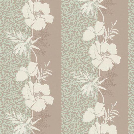 Шпалери AS Creation Valencia 3707-30 м'ятно-коричневі квіти в смужку 1,06 х 10,05 м