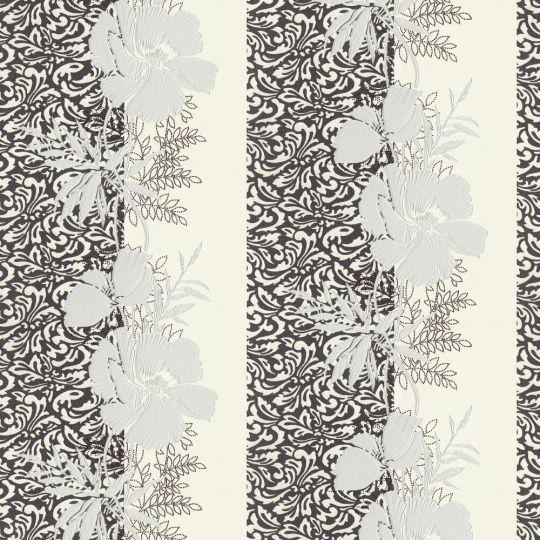 Шпалери AS Creation Valencia 3707-47 чорно-білі квіти в смужку 1,06 х 10,05 м
