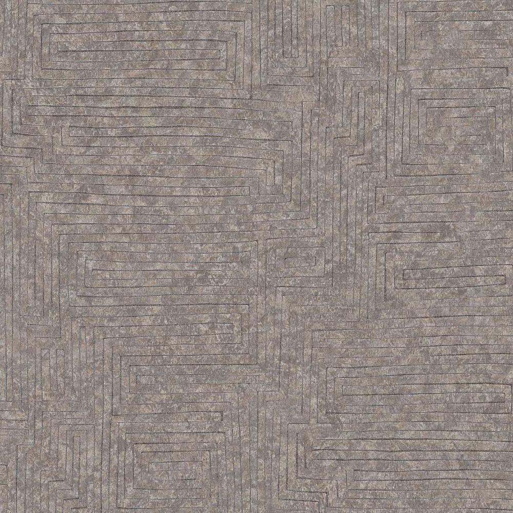 Обои AS Creation Origin Ethno 37171-1 коричневый лабиринт 0,53 х 10,05 м