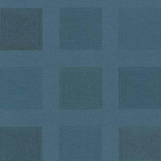 Шпалери AS Creation Origin Ethno 37172-1 сині квадрати 0,53 х 10,05 м