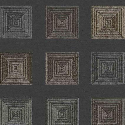Обои AS Creation Origin Ethno 37172-4 черные квадраты 0,53 х 10,05 м