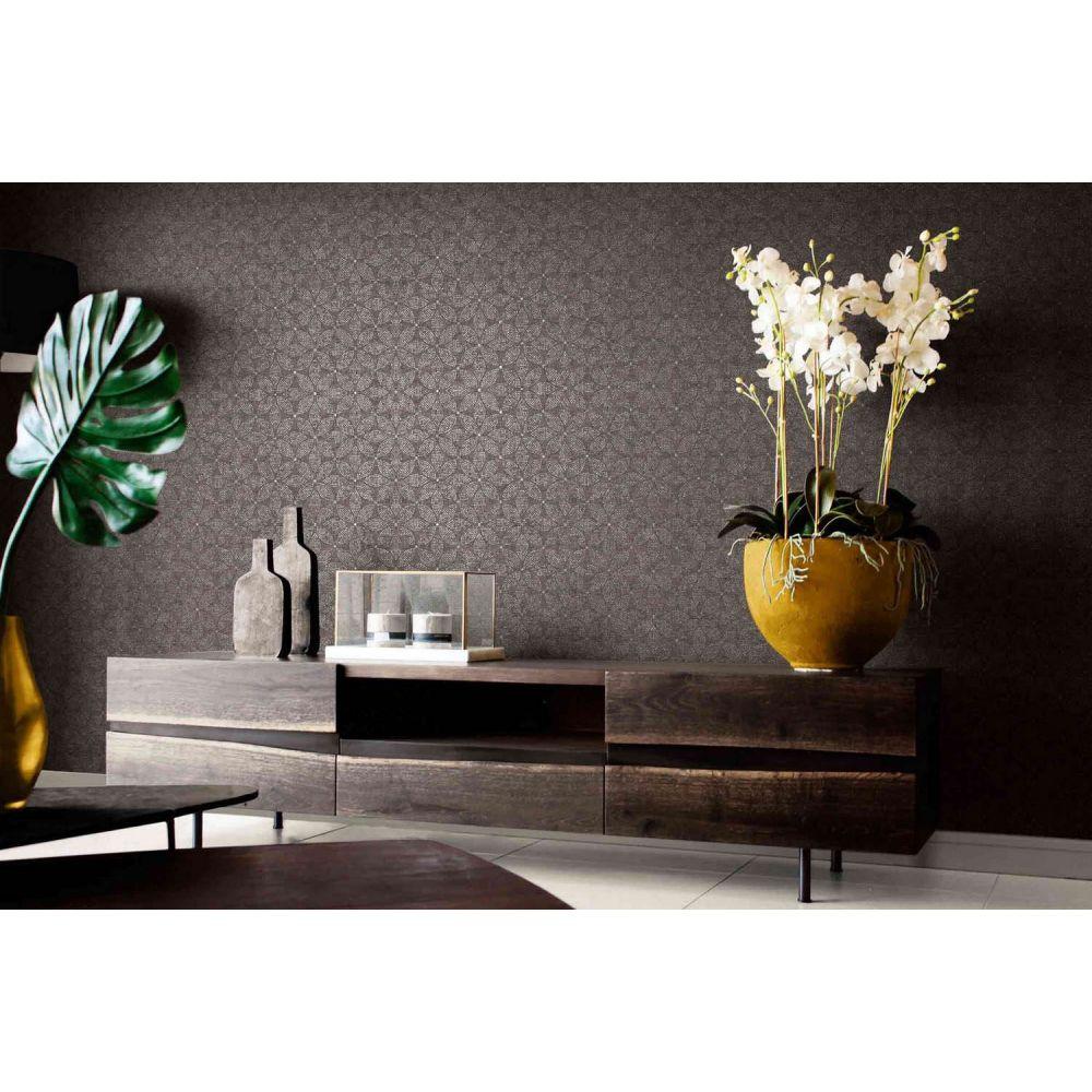Обои AS Creation Origin Ethno 37176-3 черная мозаика цветы 0,53 х 10,05 м