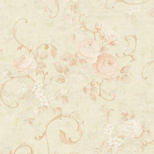 Обои AS Creation Romantico 37224-1 розовые цветы и вензеля с блестками