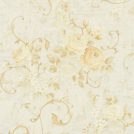 Обои AS Creation Romantico 37224-3 цветы и вензеля бежевые с блестками