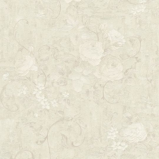 Шпалери AS Creation Romantico 37224-4 квіти і вензелі холодно-бежеві з блискітками