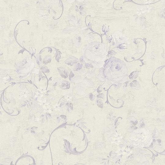 Шпалери AS Creation Romantico 37224-5 фіолетові квіти і вензелі з блискітками
