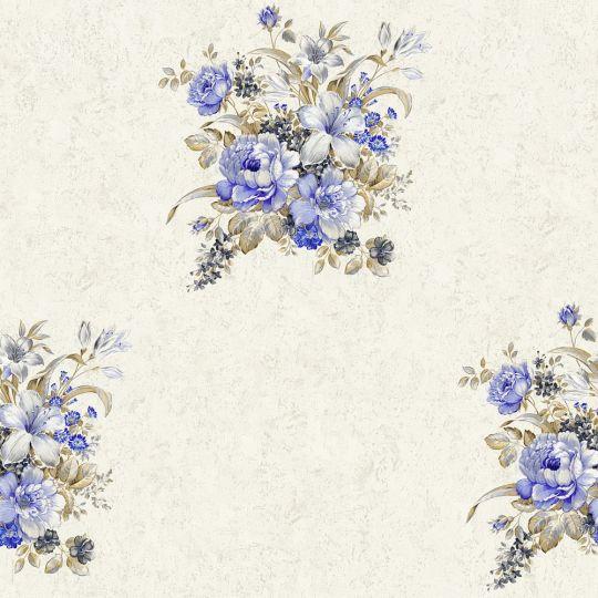 Обои AS Creation Romantico 37225-2 букетик фиолетовый на молочном фоне