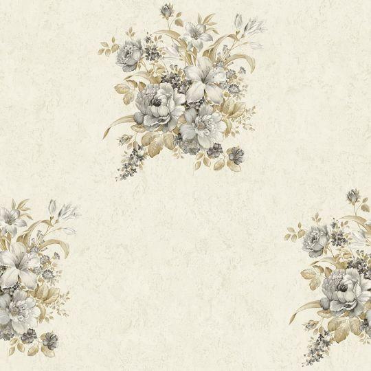 Обои AS Creation Romantico 37225-3 букетик графитово-коричневый на молочном фоне