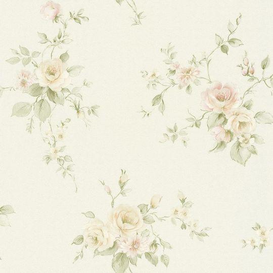 Обои AS Creation Romantico 3723-07 прованс персиковые цветы на белом