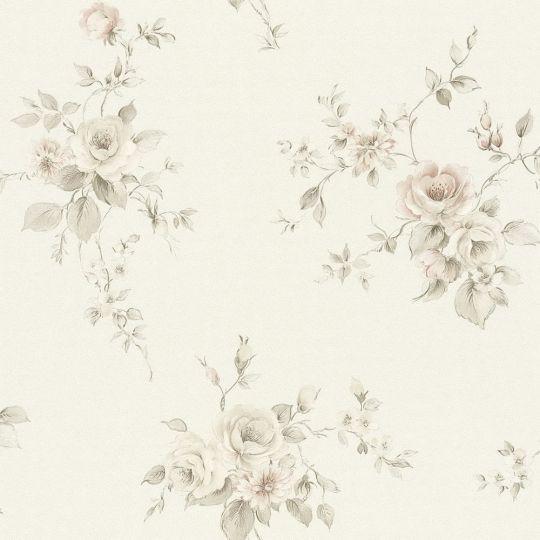 Обои AS Creation Romantico 3723-14 прованс цветы серый на белом